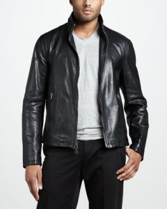 JV slim leather jacket