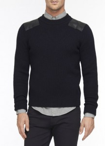 vince leather & wool military sweater